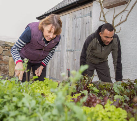 female gardening with male home support worker